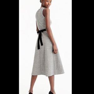 J Crew Petite Gray A-line dress with velvet tie